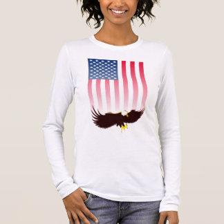Camiseta Manga Longa Vôo Eagle e bandeira americana