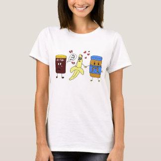 Camiseta manteiga da banana e de amendoim