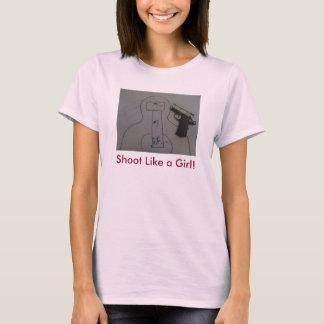Camiseta Mantendo o tiro da parte como uma boneca T da