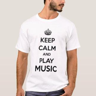 Camiseta Mantenha a calma e a música do jogo