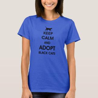 Camiseta mantenha a calma e adote gatos pretos