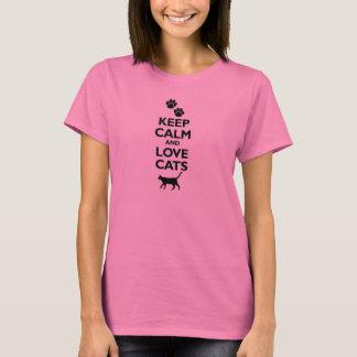 Camiseta mantenha a calma e ame o gato felino dos animais
