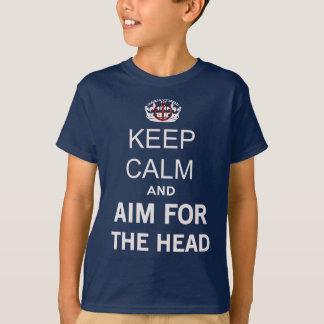 Camiseta Mantenha a calma e continue e aponte-a para o