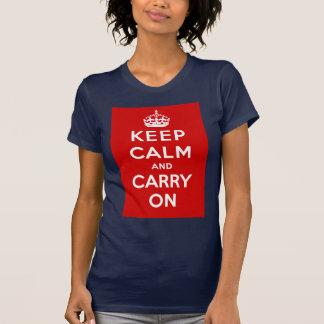Camiseta Mantenha a calma e continue o poster britânico em