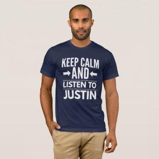 Camiseta Mantenha a calma e escute Justin