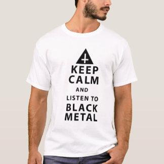 Camiseta mantenha a calma e escute o metal preto
