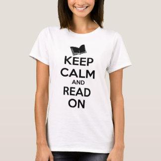 Camiseta Mantenha a calma e leia-a sobre