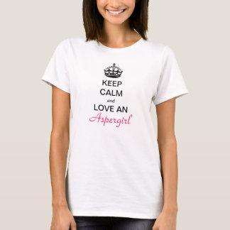 Camiseta Mantenha a calma e o amor e o Aspergirl