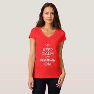 Camiseta Mantenha a calma e o Aries no aniversário
