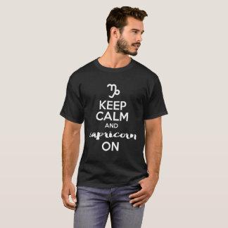 Camiseta Mantenha a calma e o Capricórnio no aniversário