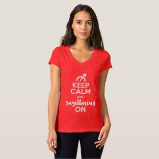 Camiseta Mantenha a calma e o Sagitário no aniversário
