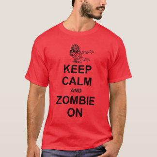 Camiseta Mantenha a calma e o zombi no t-shirt