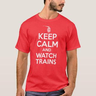 Camiseta Mantenha a calma e olhe trens - locomotiva de