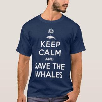 Camiseta Mantenha a calma e salvar as baleias
