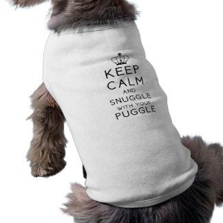Camiseta Mantenha a calma e Snuggle com seu animal de estim