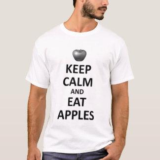 Camiseta mantenha a calma para comer maçãs