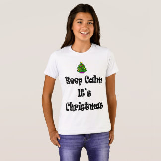 Camiseta Mantenha a calma seus Natal e árvore