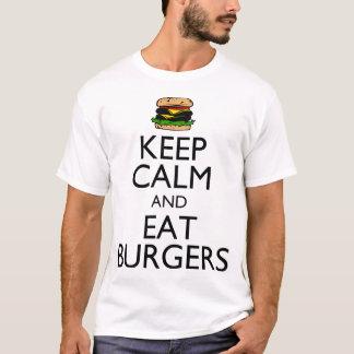 Camiseta Mantenha calmo e coma hamburgueres