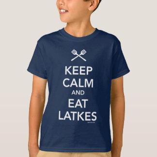 Camiseta Mantenha calmo e coma Latkes