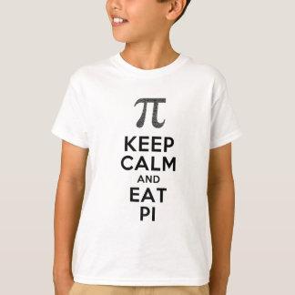 Camiseta Mantenha calmo e coma o humor da matemática da