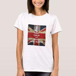 Camiseta Mantenha calmo e leia Jane Austen