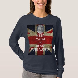 Camiseta Mantenha calmo e leia Jane Austen com retrato
