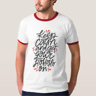 Camiseta MANTENHA o feriado do Natal dos homens da CALMA HO