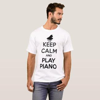 Camiseta Mantenha o t-shirt do branco da calma e da música