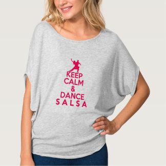Camiseta MANTENHA tshirt CALMO E da DANÇA da SALSA