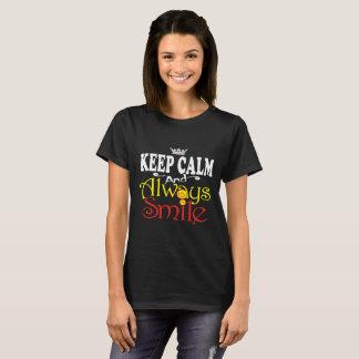 Camiseta Manter-calmo-e-sempre-sorriso