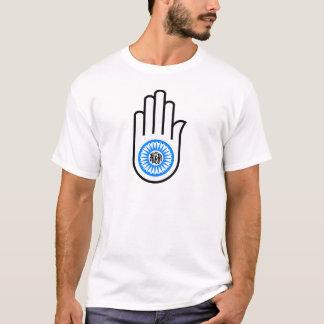 Camiseta Mão do símbolo do Jainism e roda Ahimsa de leitura