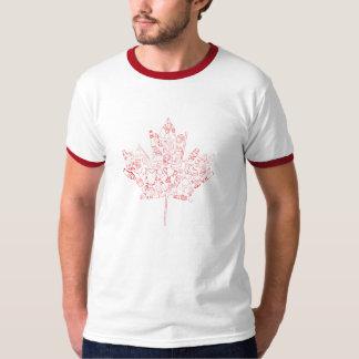 Camiseta Mão vermelha t-shirt tirado da folha de Canadá do