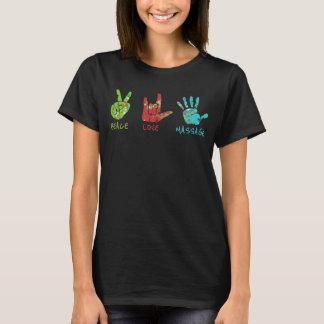 Camiseta Mãos da massagem do amor da paz - preto