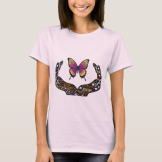 Camiseta Mãos e borboleta abertas coloridas