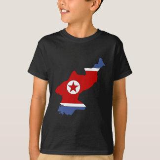 Camiseta Mapa da bandeira da Coreia do Norte sem redução