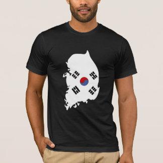 Camiseta Mapa da bandeira de Coreia do Sul sem redução