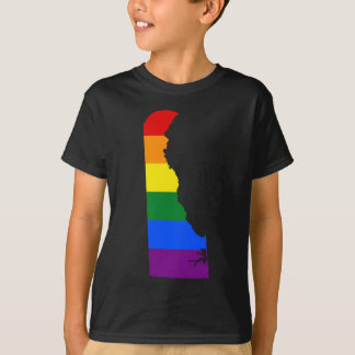 Camiseta Mapa da bandeira de Delaware LGBT