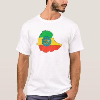 Camiseta Mapa da bandeira de Etiópia sem redução