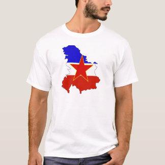 Camiseta Mapa da bandeira de Jugoslávia sem redução