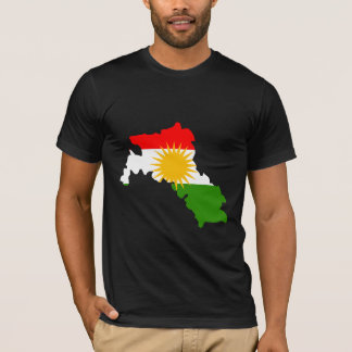 Camiseta Mapa da bandeira do Curdistão sem redução