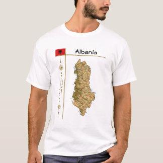 Camiseta Mapa de Albânia + Bandeira + T-shirt do título