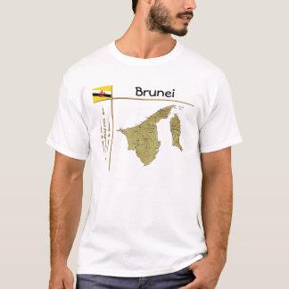 Camiseta Mapa de Brunei + Bandeira + T-shirt do título