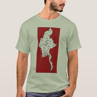 Camiseta Mapa de Burma das prisões e dos campos de trabalho