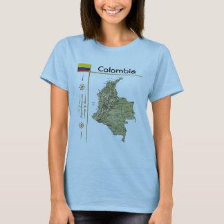 Camiseta Mapa de Colômbia + Bandeira + T-shirt do título