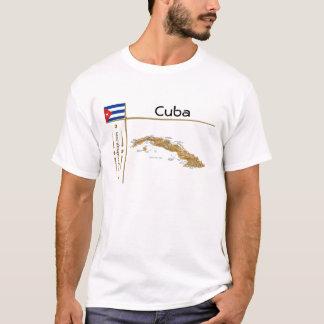 Camiseta Mapa de Cuba + Bandeira + T-shirt do título