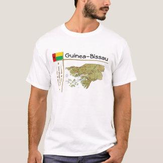 Camiseta Mapa de Guiné-Bissau + Bandeira + T-shirt do