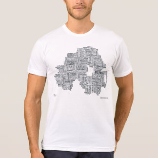 Camiseta Mapa de Irlanda do Norte Placenames