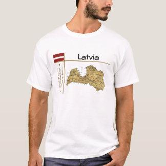 Camiseta Mapa de Latvia + Bandeira + T-shirt do título