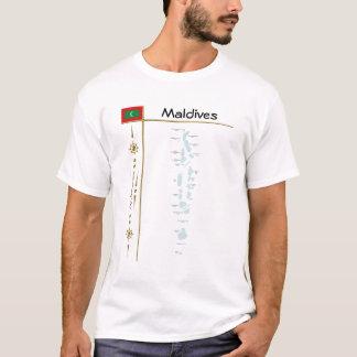 Camiseta Mapa de Maldives + Bandeira + T-shirt do título