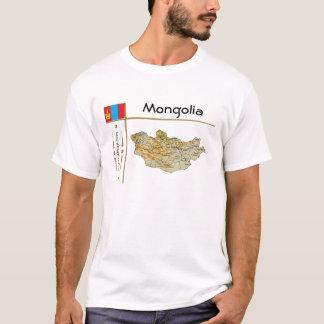 Camiseta Mapa de Mongolia + Bandeira + T-shirt do título